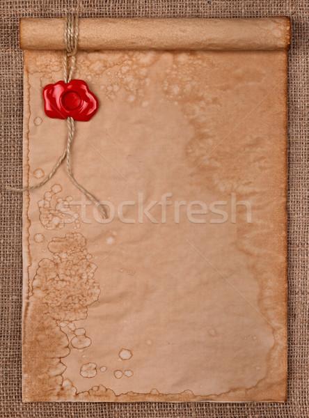 羊皮紙 ワックス シール スタンプ 黄麻布 空っぽ ストックフォト © kalozzolak