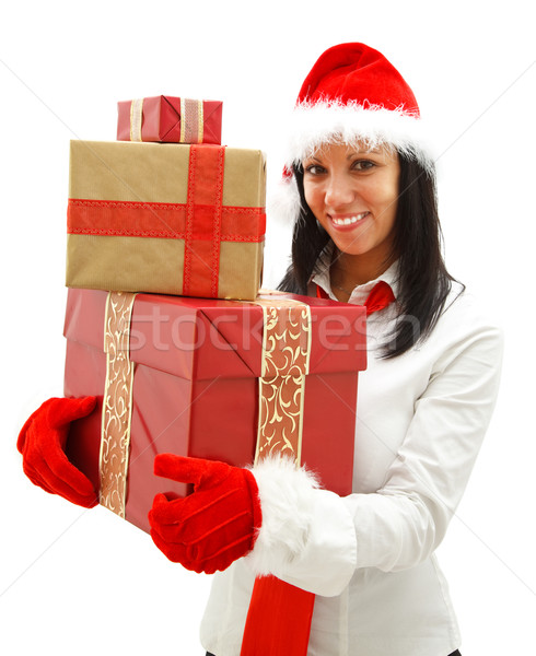 Stockfoto: Christmas · vrouw · geschenken · glimlachend · jonge · vrouw