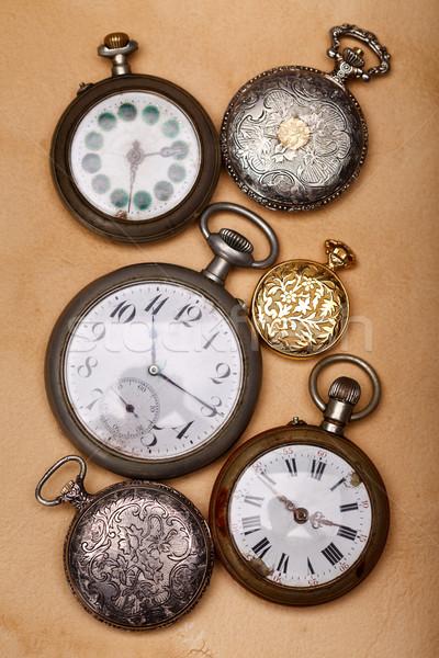 Six ancient pocket watch Stock photo © kalozzolak