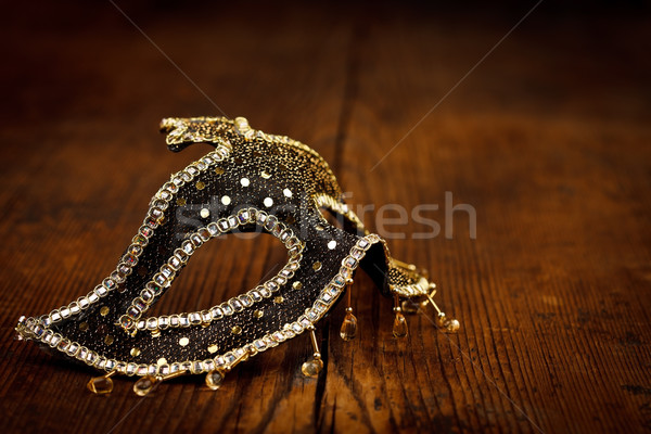 Stockfoto: Zwarte · gouden · masker · rustiek · tabel · Venetië