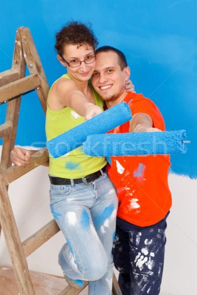 Fai da te nuova casa insieme muro home Foto d'archivio © kalozzolak