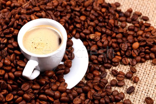 Fresh coffe and beans Stock photo © kalozzolak