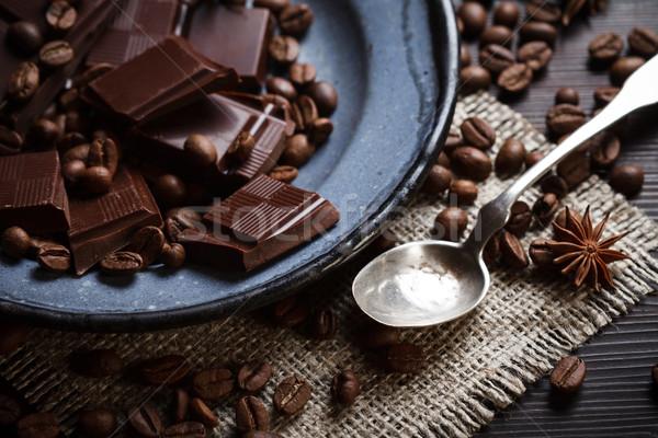частей шоколадом кофе специи серебро чайная ложка Сток-фото © kalozzolak