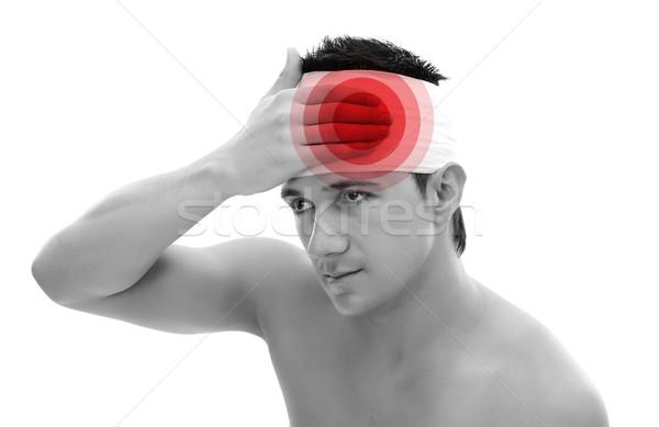 Hoofd zwachtel man elastisch geïsoleerd witte Stockfoto © kalozzolak