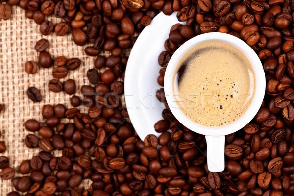 Csésze kávé kávé zsákvászon fölött kilátás Stock fotó © kalozzolak