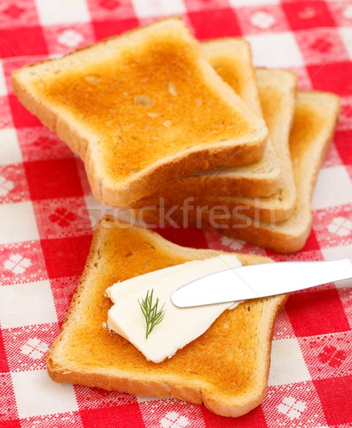 Cottage cheese toast Stock photo © kalozzolak