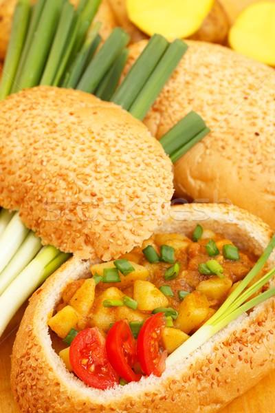Güveç ekmek çanak patates sebze plaka Stok fotoğraf © kalozzolak
