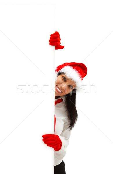 Female Santa with billboard Stock photo © kalozzolak