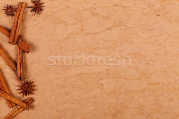 Vecchia carta cannella star anice lato vecchio Foto d'archivio © kalozzolak