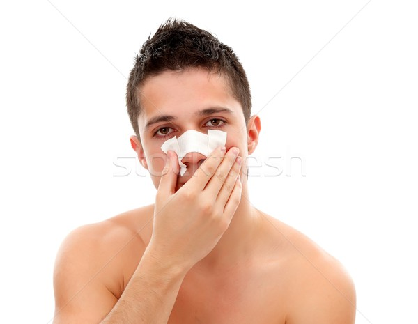 Bandage on nose Stock photo © kalozzolak