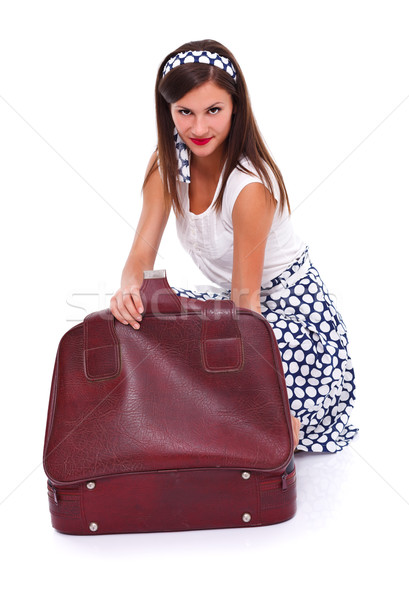 Retro nő csomagol portré retró stílus bőrönd Stock fotó © kalozzolak