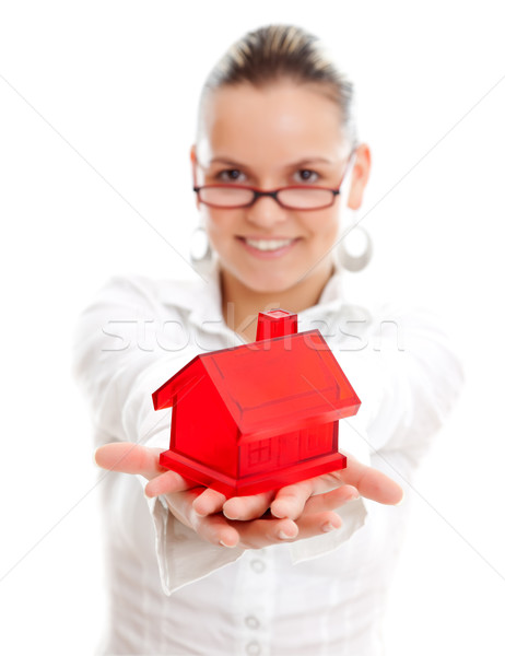 Woman with miniature house Stock photo © kalozzolak