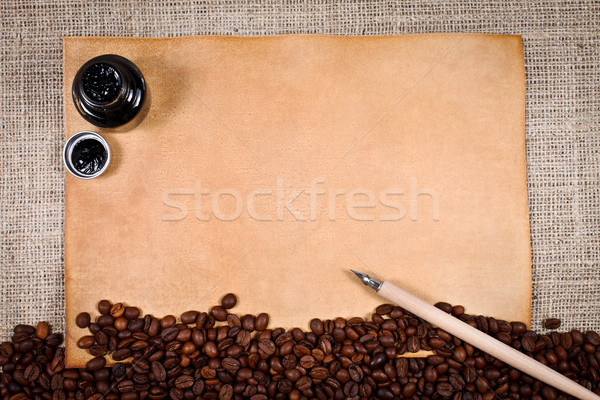 Coffee and old paper Stock photo © kalozzolak
