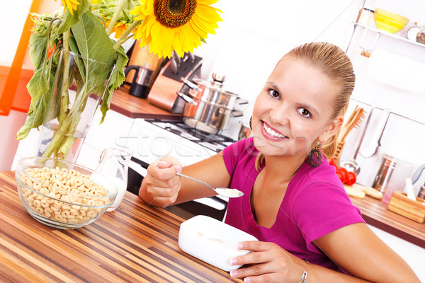 Stock photo: Eating cereals
