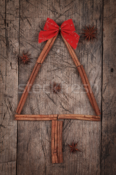 Cinnamon Christmas tree with star anises Stock photo © kalozzolak