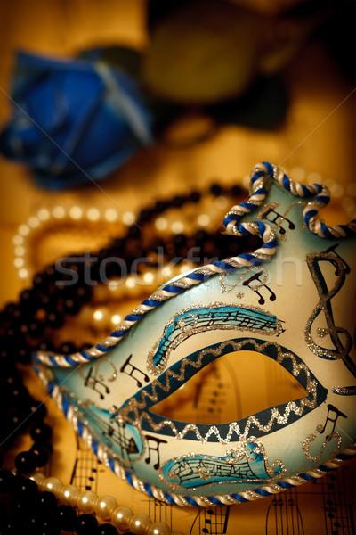 Velence maszk díszes karnevál zene papír Stock fotó © kalozzolak