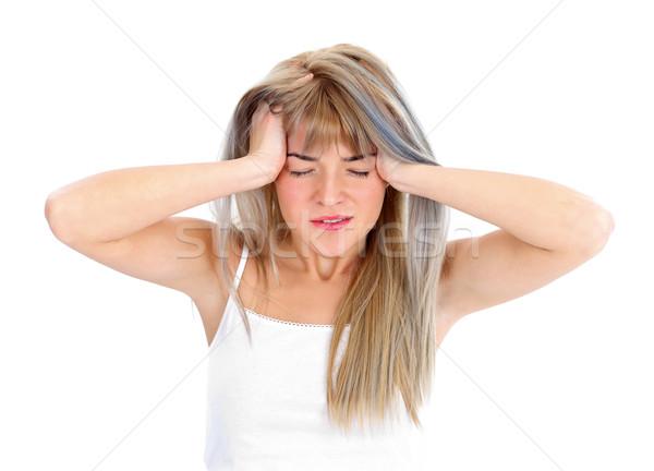 Straszny głowy kobieta dziewczyna masażu młodych Zdjęcia stock © kalozzolak