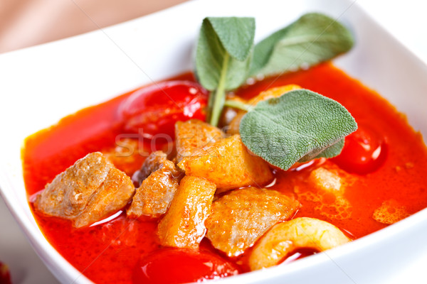 Asian food-geang phed ped yang lychees Stock photo © kalozzolak