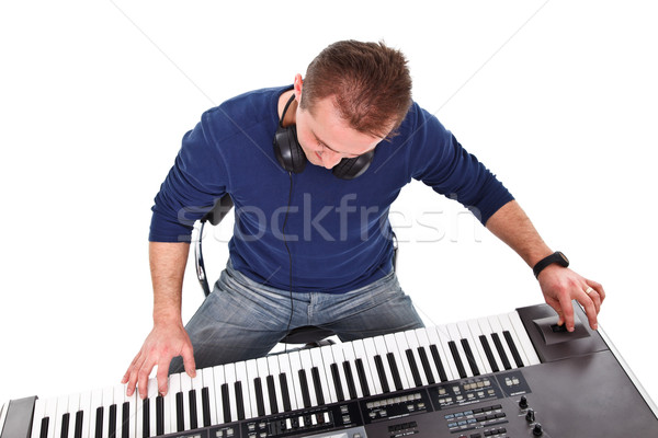 Vergadering jonge pianist man zwarte Stockfoto © kalozzolak