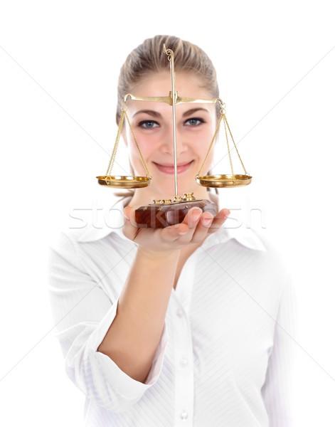 Woman holding scale Stock photo © kalozzolak