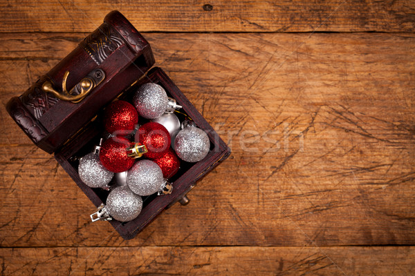 Pequeno tesouro caixa decorações natal Foto stock © kalozzolak