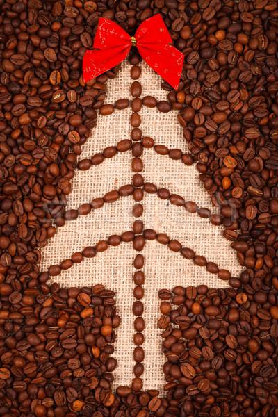 Simge noel ağacı çuval bezi kahve çekirdekleri dizayn Stok fotoğraf © kalozzolak