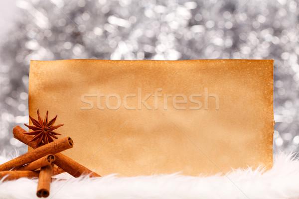 Stock fotó: Fahéj · régi · papír · csillag · ánizs · öreg · üres