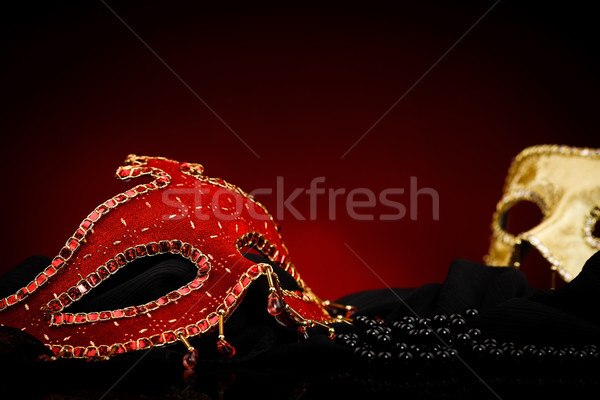 Stock photo: Masks and black pearls