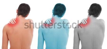 Könyök fájdalom fiatalember tart kéz orvosi Stock fotó © kalozzolak