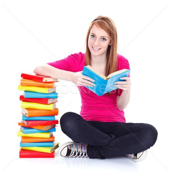 Lire plus souriant jeune fille femme fille Photo stock © kalozzolak