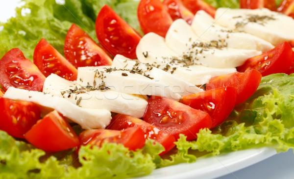 Caprese salatası İtalyan mozzarella domates gıda kırmızı Stok fotoğraf © kalozzolak