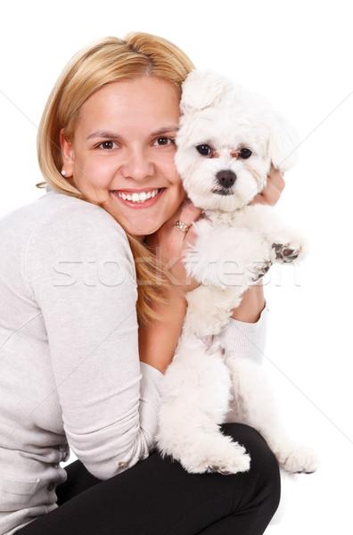 Cucciolo amore ritratto giovani bella donna Foto d'archivio © kalozzolak