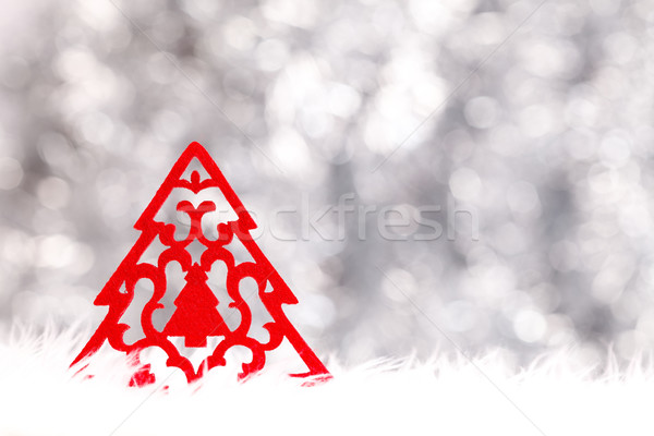 Little red handmade Christmas tree Stock photo © kalozzolak