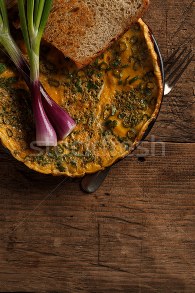 Delicious omelette with toast Stock photo © kalozzolak