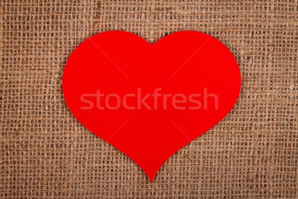 énorme rouge papier coeur toile de jute résumé Photo stock © kalozzolak