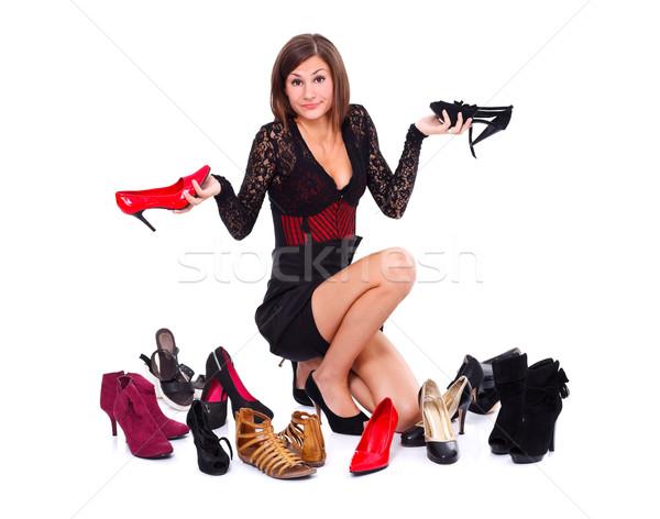 Stok fotoğraf: Kadın · ayakkabı · beyaz · gülümseme · genç · hediye