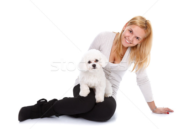 Girl with puppy Stock photo © kalozzolak