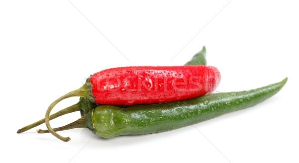 ペパロニ 赤 緑 ぬれた 白 唐辛子 ストックフォト © kalozzolak