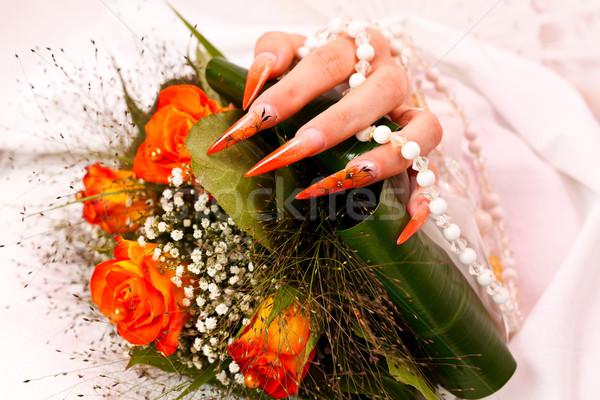 長い オレンジ 人工的な ブライダル 爪 詳細 ストックフォト © kalozzolak