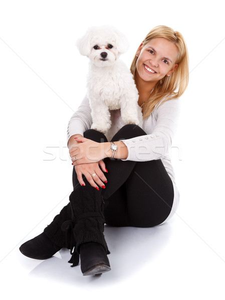 Friendship between a girl and her puppy Stock photo © kalozzolak
