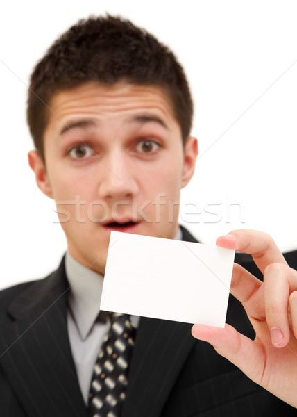 Businessman with card Stock photo © kalozzolak