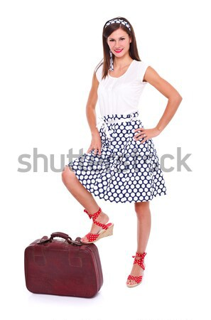 Pin up girl with suitcase Stock photo © kalozzolak