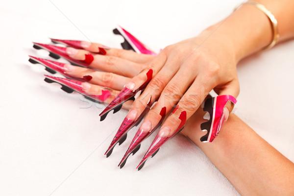 Voorbereiding nagels foto hand wachten afgewerkt Stockfoto © kalozzolak