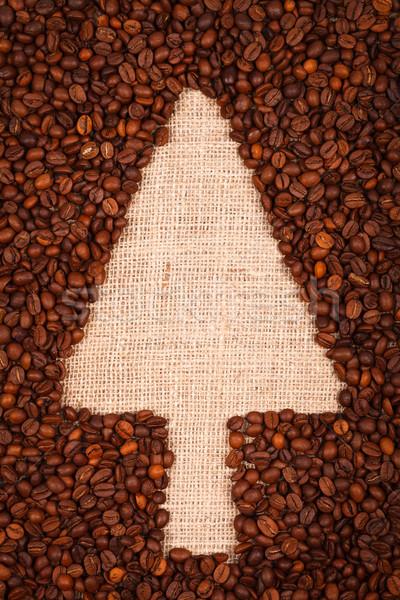 Pano de saco árvore de natal símbolo grãos de café projeto fundo Foto stock © kalozzolak
