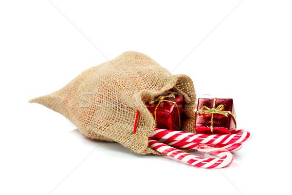 Toile de jute cadeau sac faible Noël cadeaux Photo stock © kalozzolak