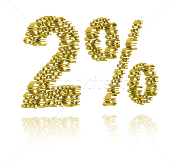 Stock photo: 3D Illustration of  two percent