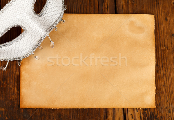 Stock photo: Mask with empty old paper