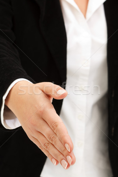üzlet kézfogás üzletasszony elegáns öltöny kész Stock fotó © kalozzolak