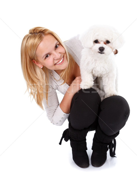 Adorable puppy and young girl Stock photo © kalozzolak
