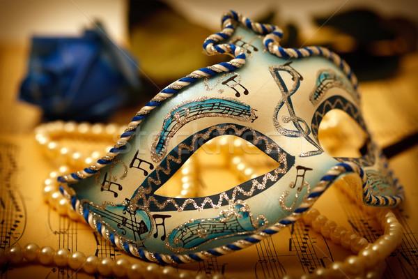Carnaval masker muziek papier steeg Stockfoto © kalozzolak